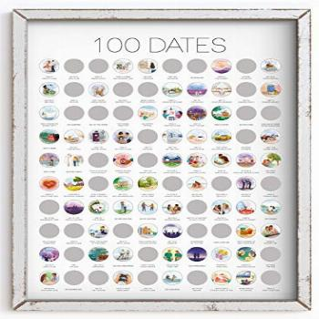 100 Dates Scratch Off Poster - Engagement Gifts, Anniversary