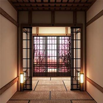 Laeacco 7x5ft Japanese Style Empty Lobby Interior Blooming