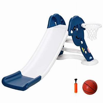 Qaba Indoor/Outdoor Kids Toy Slide with a Safety Triangle