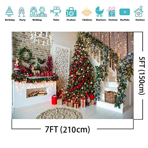 AIIKES 7x5FT Christmas Backdrops for Photography Fireplace
