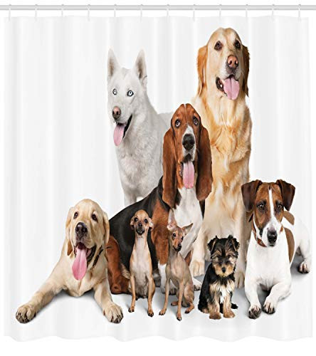 Ambesonne Dog Lover Shower Curtain, Group of Dogs Posing for