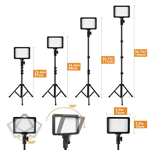 APUNOL LED Video Light Kit,2 Pcs Dimmable Photography