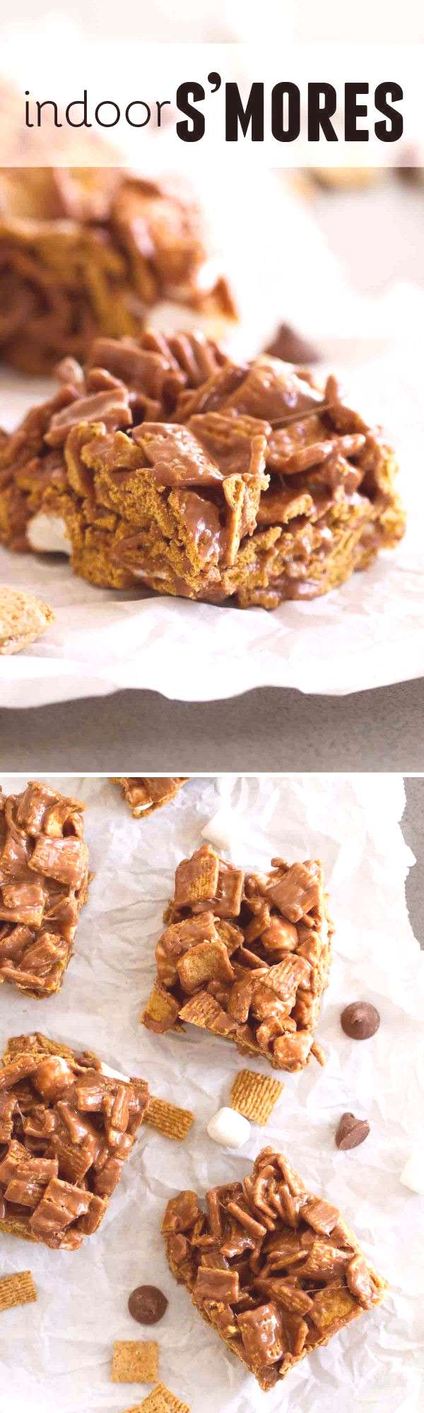 Dont have a campfire? These easy Indoor S'mores cereal bars have all of your favorite smores fl