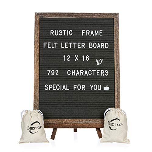 Felt Letter Board with Rustic Vintage Frame and Stand 12x16