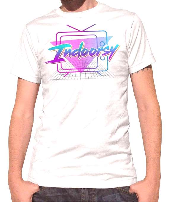 Indoorsy Shirt - 1980s Outrun Aesthetic - Vaporwave Funny Introvert Shirt (See SIZING INFO in Item